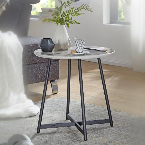 WOHNLING Beistelltisch Rund 50 x 50 cm mit Marmor Optik Weiß | Wohnzimmertisch mit Metall