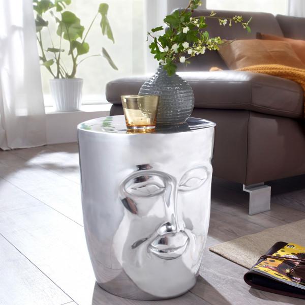 WOHNLING Beistelltisch FACE 35x35x39 cm Aluminium Couchtisch Silber orientalisch | Sofatisch