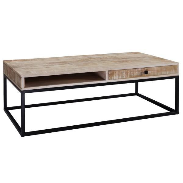 WOHNLING Couchtisch Massivholz / Metall 115x40x60 cm Sofatisch | Design Wohnzimmertisch