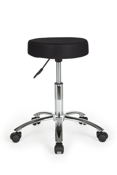 AMSTYLE Hocker LEON Design Arbeitshocker Stoffbezug Schwarz Sitzhocker mit Rollen Rollhocker
