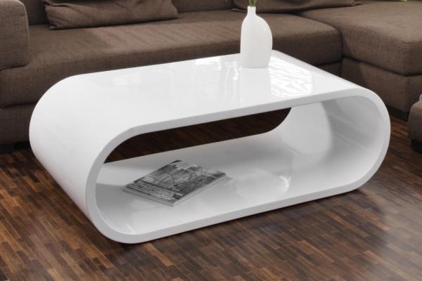 Design Couchtisch 120x60x40 cm Weiß Hochglanz Lack