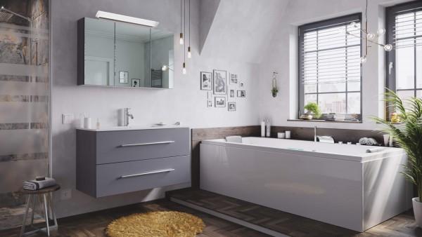 Posseik Badmöbel-Set Homeline 100 (2-teilig) anthrazit seidenglanz mit LED Spiegelschrank