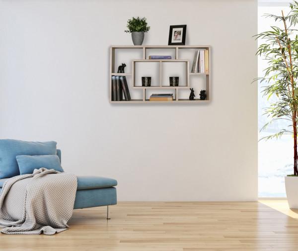 WOHNLING Wandregal ALEX sonoma 85 x 47,5 x 16 cm MDF-Holz Hängeregal modern