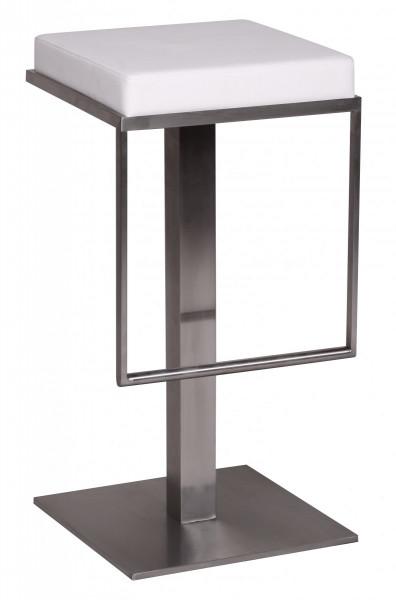 WOHNLING Barhocker Weiß Edelstahl 36x76x39 cm Design Barstuhl