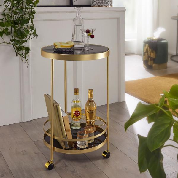WOHNLING Design Servierwagen Gold Rund Ø 45cm 2 Ebenen | Beistelltisch auf Rollen mit Glasplatte