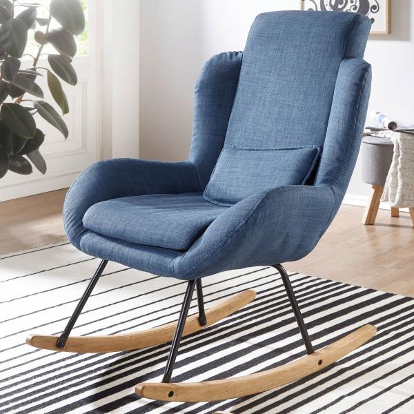 WOHNLING Schaukelstuhl ROCKY Blau Design Relaxsessel 75 x 110 x 88,5 cm | Sessel Stoff / Holz