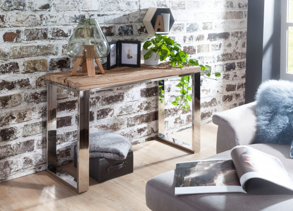 WOHNLING Konsolentisch PRIYA 115x76x46 cm Massiv-Holz Natur | Konsole rustikal Wohnzimmer
