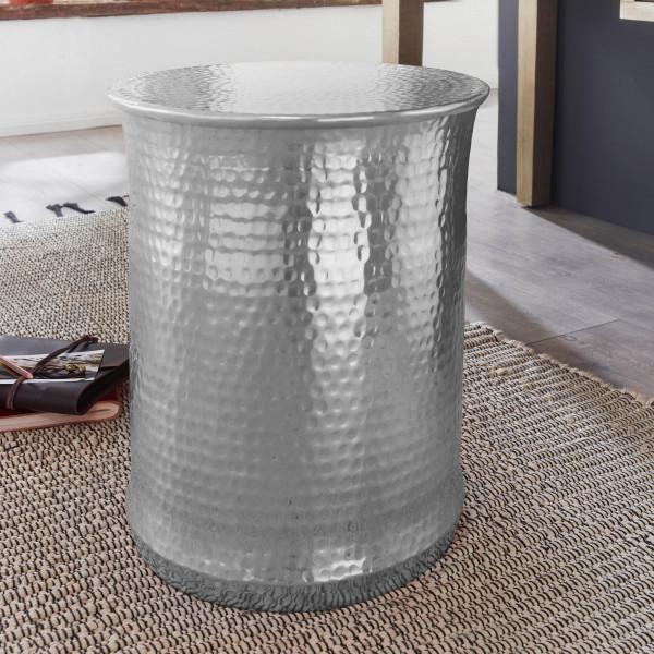 WOHNLING Beistelltisch TARUN 41x50x41 cm Aluminium Orientalisch Silber Rund | Kleiner Sofatisch