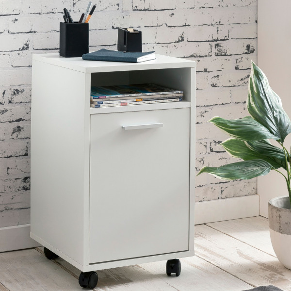 WOHNLING Rollcontainer WL5.928 Weiß 33x60x38cm Schubladenschrank Büro Container