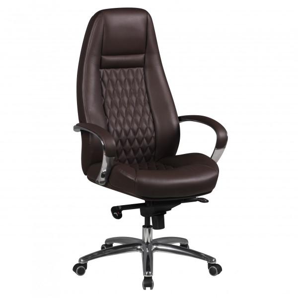 AMSTYLE Bürostuhl AUSTIN Echt-Leder Braun Schreibtischstuhl 120 KG Chefsessel hohe Rückenlehne
