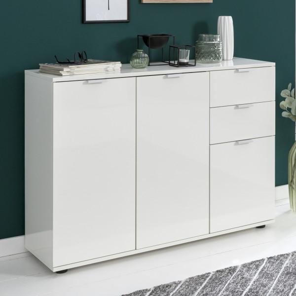 WOHNLING Sideboard Junis Weiß 107x78,5x35 cm Kommode mit Türen und Schubladen