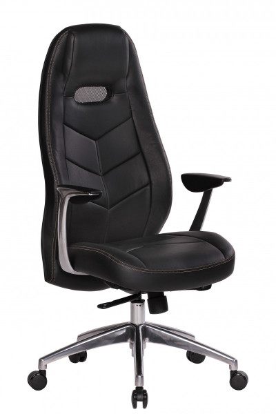 Amstyle Bürostuhl BARI Echt-Leder Schwarz Schreibtischstuhl mit Armlehne Chefsessel
