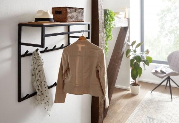 Wohnling Design Wandgarderobe Akazie Massivholz Metall 70x70x30 cm