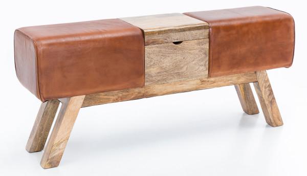 WOHNLING Design Turnbock Sitzbank Braun Aufbewahrungsfach