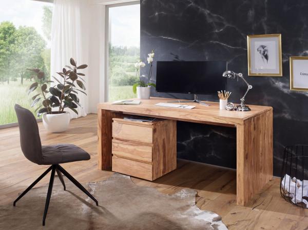 WOHNLING Schreibtisch BOHA Massiv-Holz Akazie Computertisch 140 cm breit