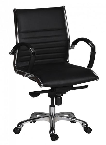 AMSTYLE Bürostuhl SALZBURG 2 Bezug Echtleder Schreibtischstuhl Schwarz XXL 120kg Chefsessel