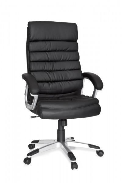AMSTYLE Bürostuhl VALENCIA Kunstleder Schwarz ergonomisch mit Kopfstütze | Design Chefsessel