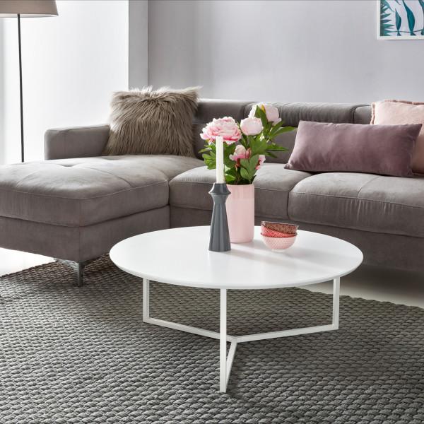 WOHNLING Design Couchtisch MDF weiß matt Gestell Metall 80 cm | Wohnzimmertisch lackiert