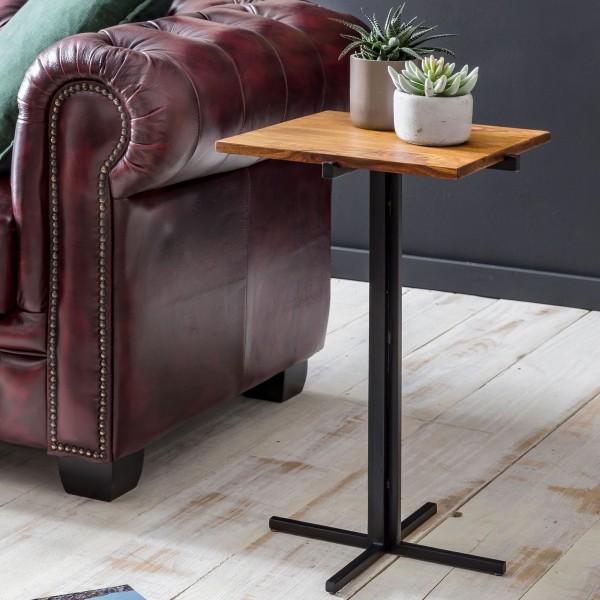 WOHNLING Beistelltisch 38 x 62 x 38 cm Sheesham Holz Metall Couchtisch | Industrial Style