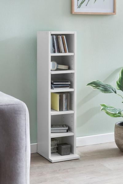 WOHNLING Design Bücherregal BERND Weiß mit 6 Fächern