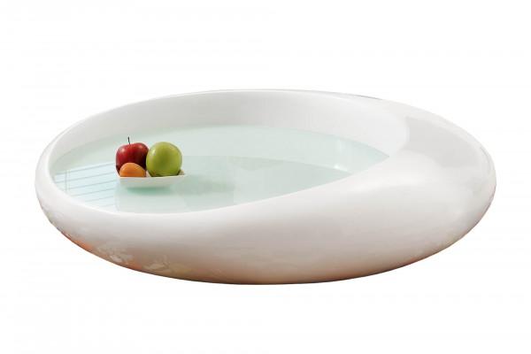 Couchtisch 100x100x25 cm weiß Fiberglas