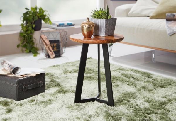 WOHNLING Beistelltisch 35 x 37 x 35 cm Sheesham Holz Metall Couchtisch | Industrial Style
