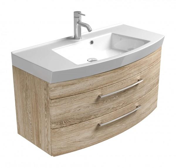 Posseik Waschplatz Rima mit runder Front 100 cm Unterschrank - sonoma Eiche