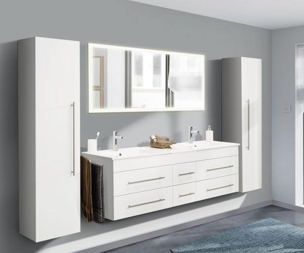 Posseik Badmöbelset Komplett Nero XL 4-teilig mit LED-Spiegel weiß hochglanz