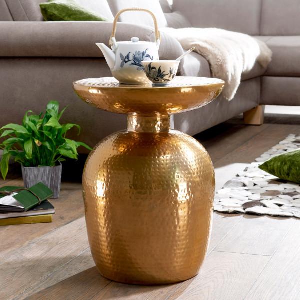 WOHNLING Beistelltisch DELYLA Aluminium Dekotisch Gold orientalisch rund