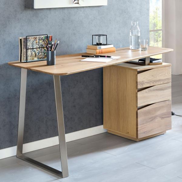 WOHNLING Schreibtisch FARON 150x67x76 cm Eiche Massivholz Tischplatte Nierenförmig | Bürotisch