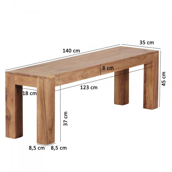 WOHNLING Esszimmer Sitzbank MUMBAI Massiv-Holz Akazie 140 x 45 x 35 cm