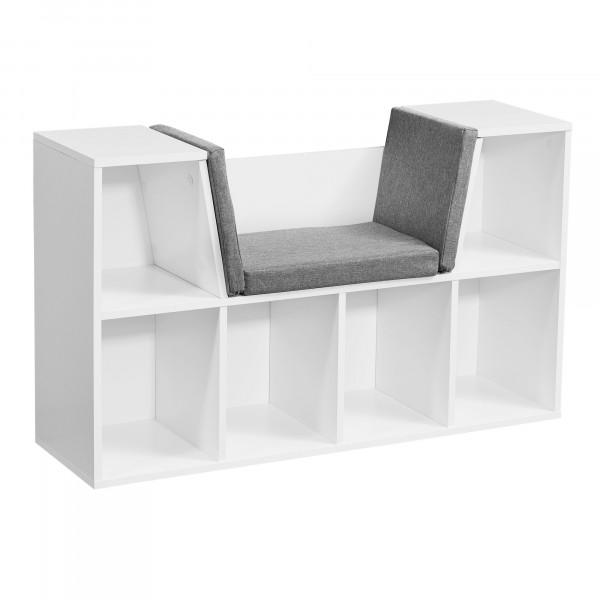WOHNLING Design Regal mit Sitzfläche 101,5 x 61,5 x 30 cm Weiß Matt