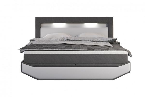 Boxspringbett 180x200 cm weiß/grau LED