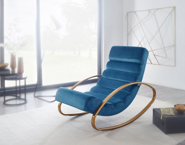 WOHNLING Relaxliege Samt Blau / Gold 110 kg Belastbar Relaxsessel