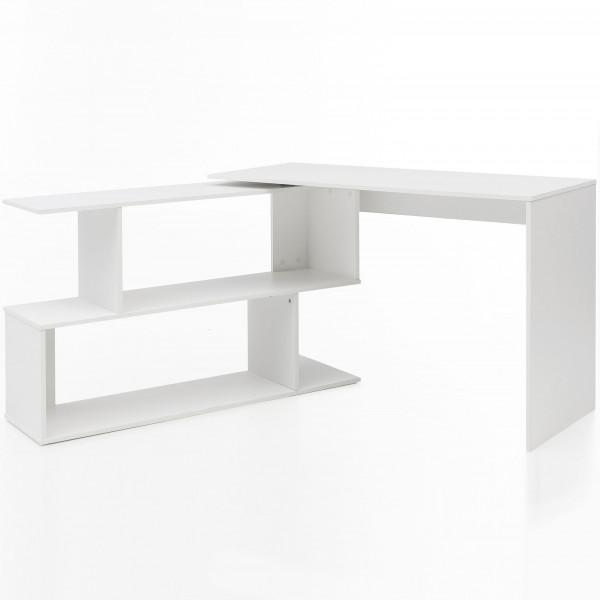 WOHNLING Design Schreibtisch Vary Weiß Matt 119 x 78 x 49 cm mit Ablage Regal   Eckschreibtisch