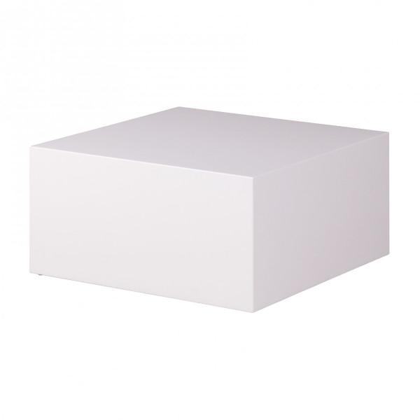 WOHNLING Couchtisch MONOBLOC 60 x 60 x 30 cm Hochglanz MDF Weiß lackiert