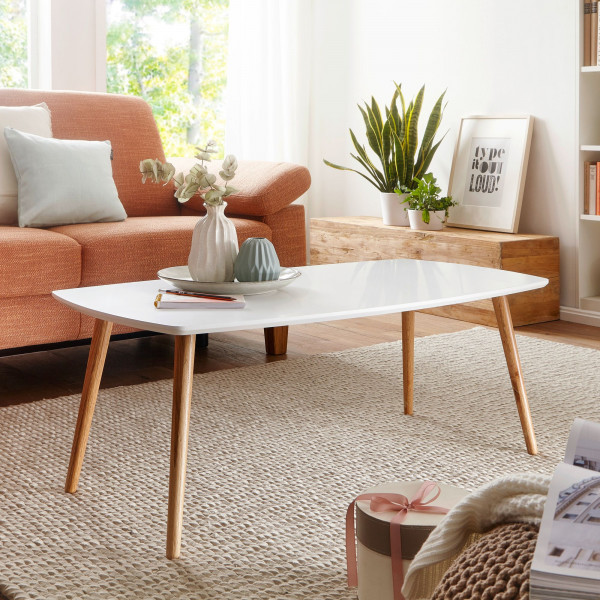 WOHNLING Design Couchtisch SCANIO 110 x 42 x 58 cm Wohnzimmertisch Matt Weiß