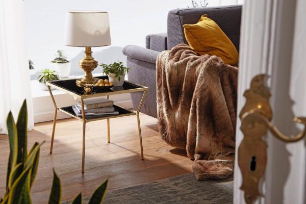 WOHNLING Design Couchtisch Glas Schwarz 50 x 50 cm 2 Ebenen Gold Metallgestell | Wohnzimmertisch