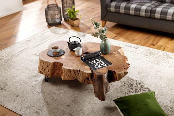 WOHNLING Couchtisch NAKUR 104x30x69 cm Akazie Vollholz Design Wohnzimmertisch   Tisch Stubentisch