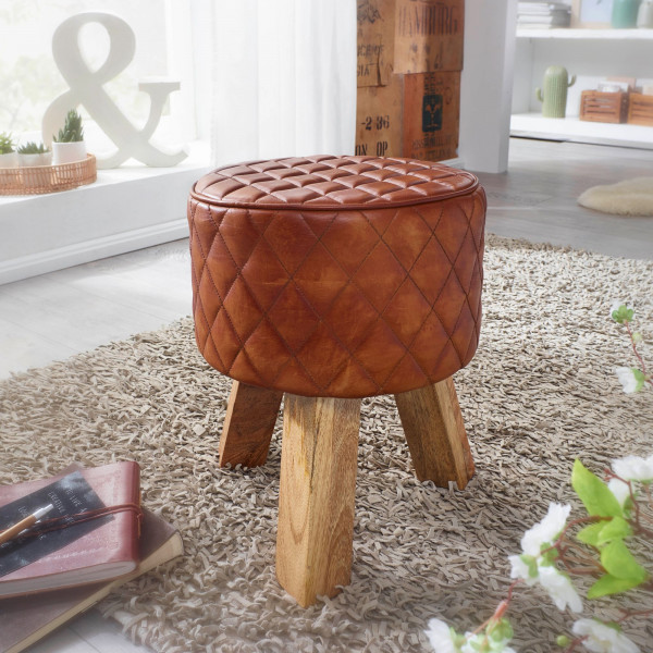 WOHNLING Sitzhocker Echtleder / Massivholz 35x46x35 cm