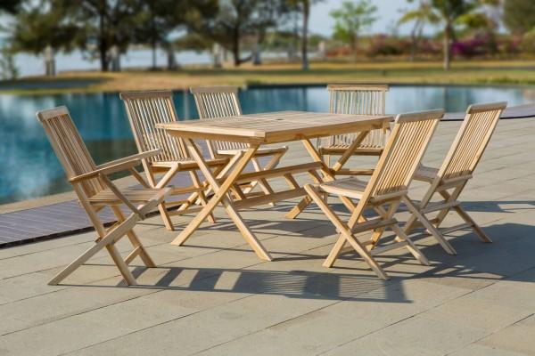 MÖBILIA Gartenmöbel-Set PAPUA 5-tlg. Gartengarnitur 4 Stühle, 2 Armlehnstühle, 1 Tisch natur
