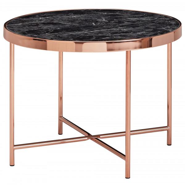 WOHNLING Design Beistelltisch Rund Ø 60 cm in Marmor Optik Schwarz | Wohnzimmertisch
