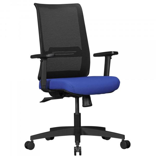 AMSTYLE Bürostuhl RENE mit Stoff-Bezug in Schwarz / Blau | Schreibtisch-Stuhl mit Netz-Rückenlehne