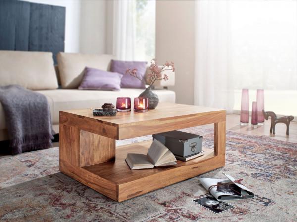 WOHNLING Couchtisch MUMBAI Akazie Massiv-Holz 90 x 60 x 40 cm