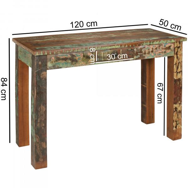 WOHNLING Konsolentisch RIVERBOAT   Massivholz Schreibtisch mit Schubalde