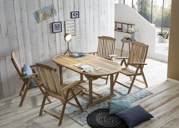 MÖBILIA Gartenmöbel-Set BORNEO 5-tlg. Gartengarnitur 4 Armlehnstühle, 1 Tisch natur