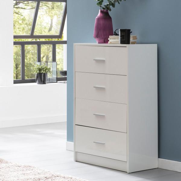 WOHNLING Design Kommode Raya Weiß Hochglanz 60x90x30 cm Anrichte Holz Modern