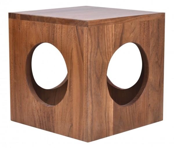 MÖBILIA Beistelltisch mit 4 runden Öffnungen zum Stauraum natur Akazienholz Beistelltisch