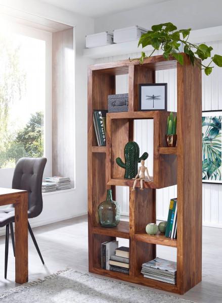 WOHNLING Bücherregal MUMBAI Massiv-Holz Sheesham 90 x 180 cm