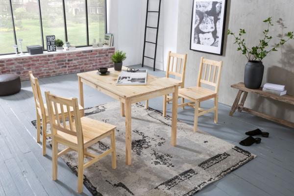 WOHNLING Esszimmer-Set EMIL 5 teilig Kiefer-Holz Landhaus-Stil